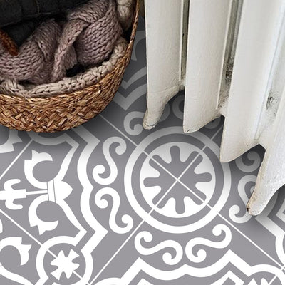 Vinyl Floor Tile Sticker - Lys in Grey