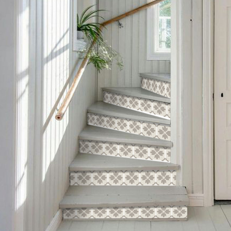 Stair Riser Stickers - Stair Riser Tile Decals - Margot in Taupe