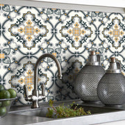 Vinyl Tile Sticker Splash back - Removable Vinyl Wall Decal Medici Charcoal Ochre