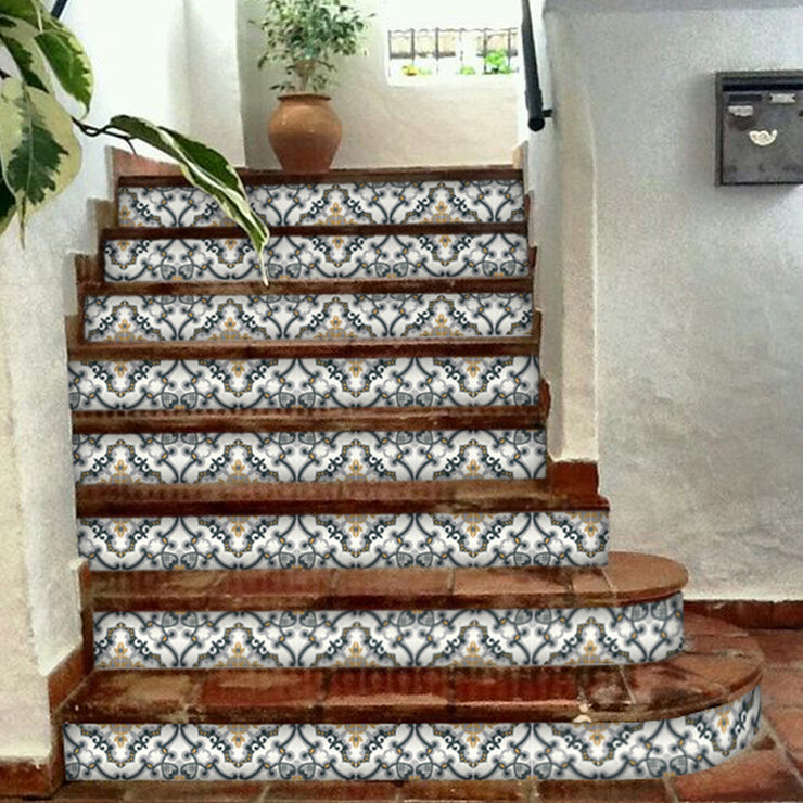 "Stair Riser Stickers - Stair Riser Tile Decals - Medici 6 units 48"" long"