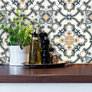 Tile Stickers Pack for Kitchen, Bathroom & Floors in Medici Charcoal & Ochre