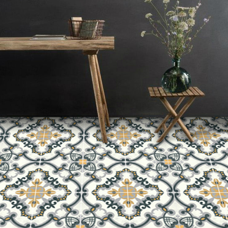 Vinyl Floor Tile Sticker - European Medici in Charcoal & Ochre