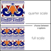 Tile Stickers Pack in Mexican Mix Red for Kitchen, Bathroom & Floors