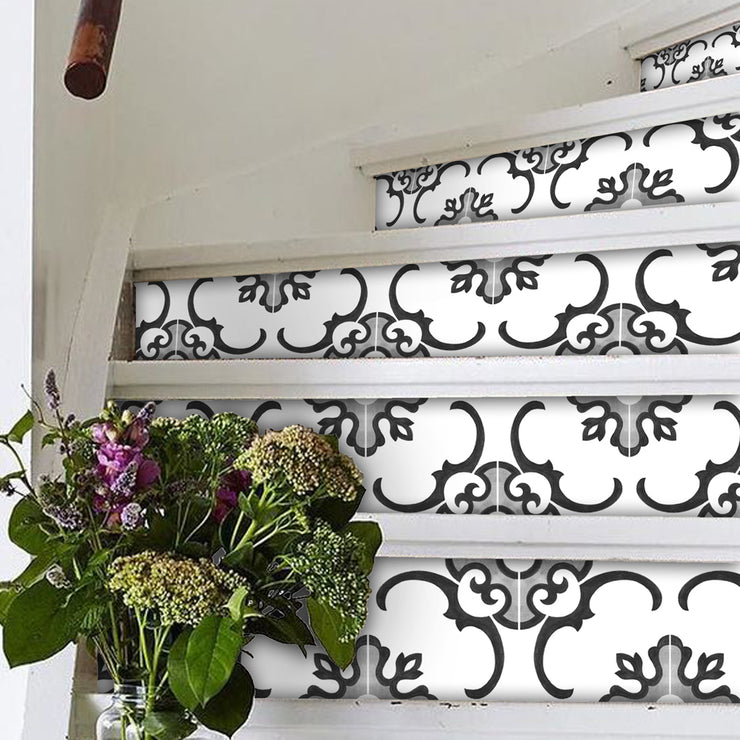 Stair Riser Stickers - Stair Riser Tile Decals - Milano Black & White 6 unit
