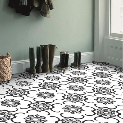 Vinyl Floor Tile Sticker - Milano in Black & White
