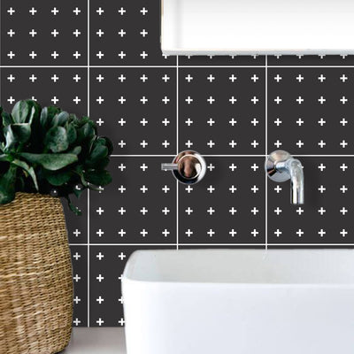 Vinyl Tile Stickers for Kitchen, Bathroom & Floors in Mini Cross
