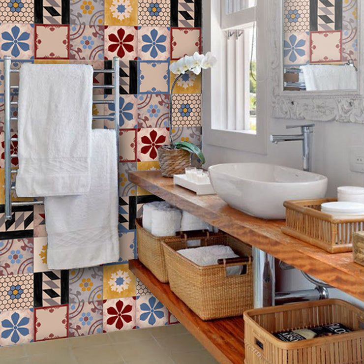 Tile Stickers in Hand Painted Moroccan Mix for Kitchen, Bathroom & Floors