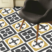 SALE! Vinyl Floor Tile Stickers Panel of 60 x 120 cm size - Orpheus in Black