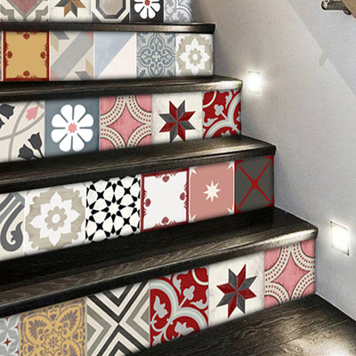 Stair Riser Stickers - Stair Riser Tile Decals - Patchwork Mix Rose 6pcs  48inch