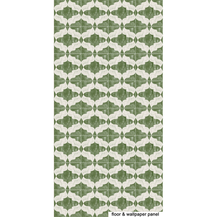 Arabesque in Jade Green Vinyl Tile Sticker