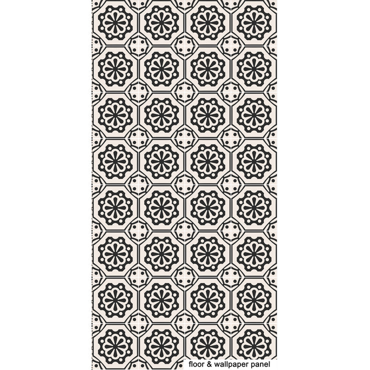 Vinyl Floor Tile Sticker - Testino in Black