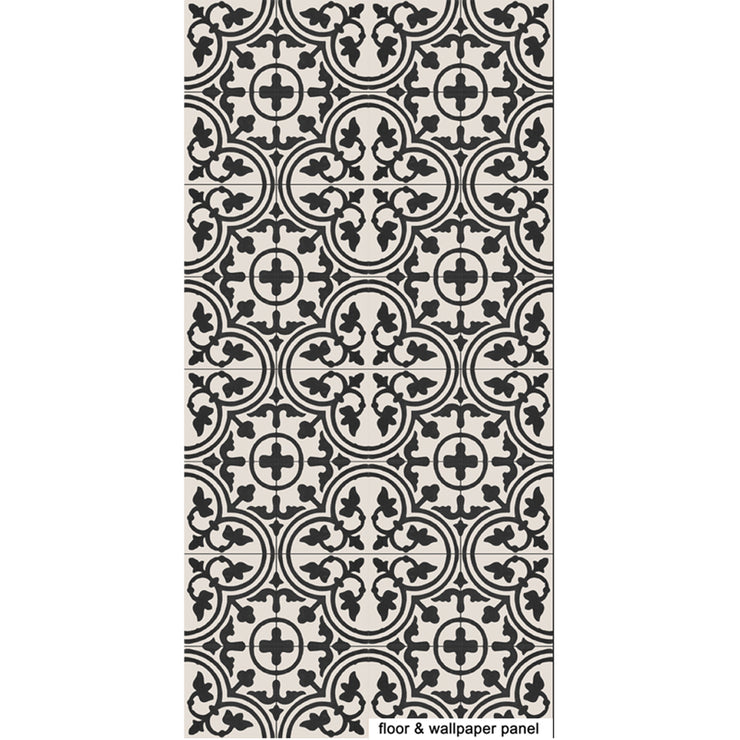 SALE! Removable Vinyl Wallpaper Trefle Black in 60 x 120 cm panel