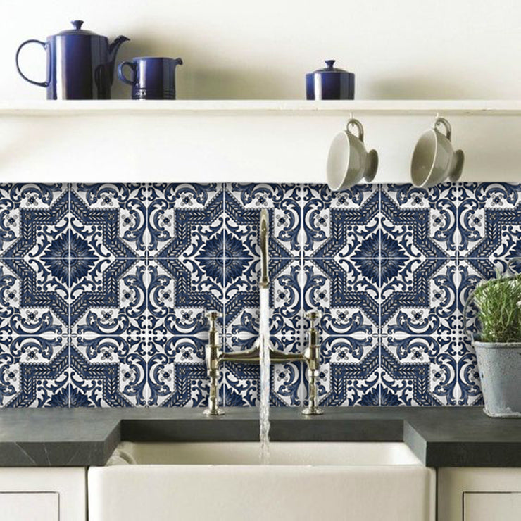 Vinyl Tile Sticker Splash back - Removable Vinyl Wall Decal Provence Indigo