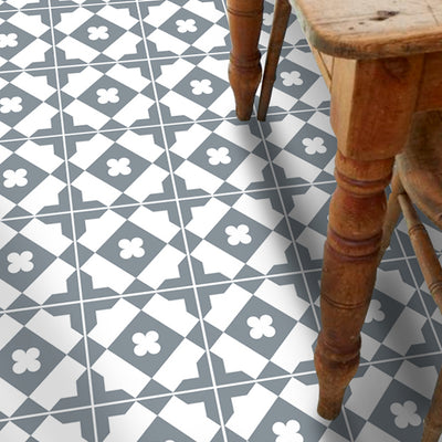 Vinyl Floor Tile Sticker - Quadrifoglio Grey