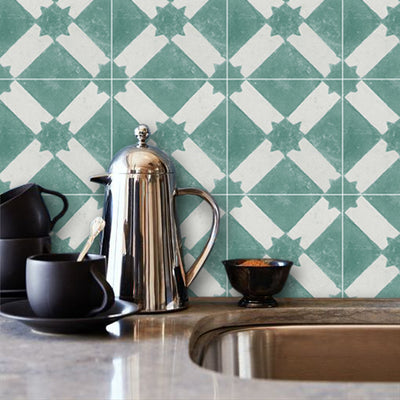 Moroccan Riad Removable Vinyl Wallpaper in Emerald