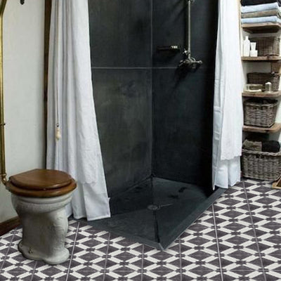Vinyl Tile Stickers for Kitchen, Bathroom & Floors in Riad Black