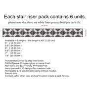 Stair Riser Stickers - Stair Riser Tile Decals - Riad in Black
