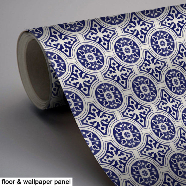 Vinyl Tile Stickers Pack in Indigo for Kitchen, Bathroom & Floors Cleft in Violet Blue