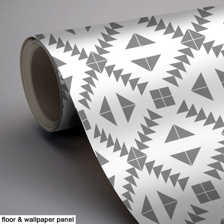 Vinyl Floor Tile Sticker - Zig Zag Grey