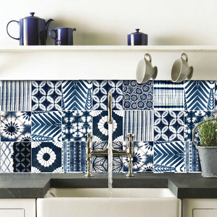 Removable Wallpaper in Shibori Indigo Blue