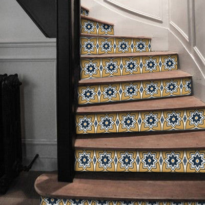 Stair Riser Stickers - Stair Riser Tile Decals - Sierra Ochre 6 unit