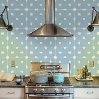 Vinyl Floor Tile Sticker - Moroccan Starry Night in Powder Blue