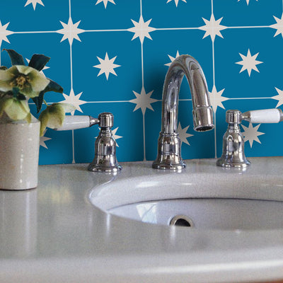 Removable Wallpaper in Moroccan Starry Night Cobalt Blue