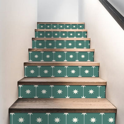 Stair Riser Stickers - Stair Riser Tile Decals - Starry Night Green 6pcs  48inch