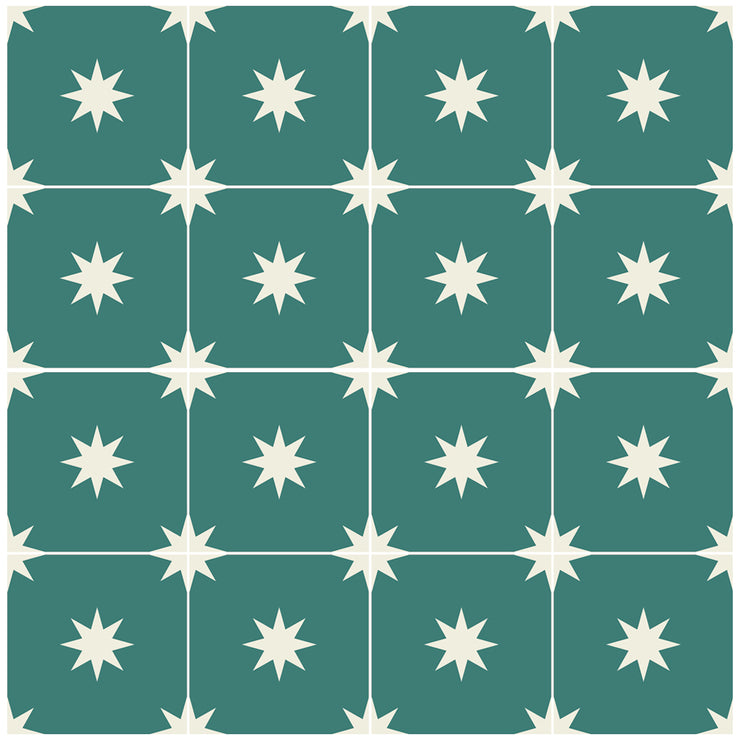 Removable Wallpaper Moroccan Starry Night Emerald