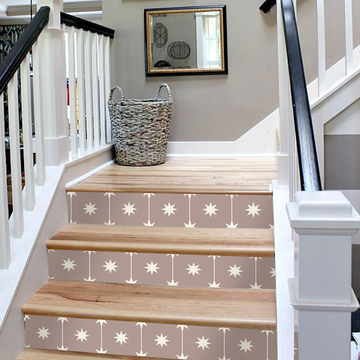 "Stair Riser Stickers - Stair Riser Tile Decals - Starry Night Taupe 6pc 48"" long"