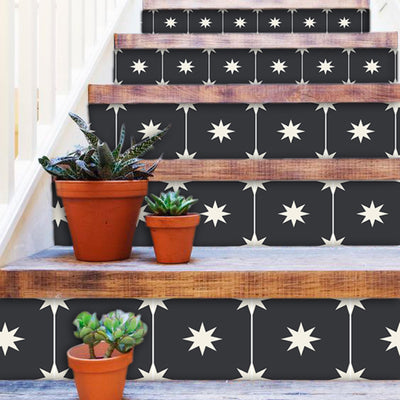 Starry Night in Black Stair Riser Stickers