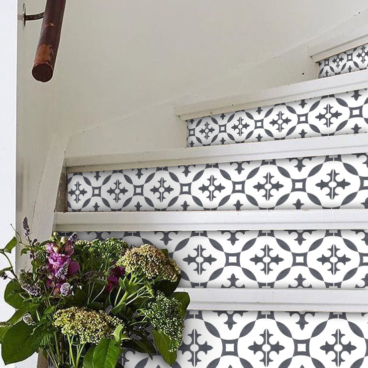 "Stair Riser Stickers - Stair Riser Tile Decals - Stella Charcoal 6 pcs 48"" long"