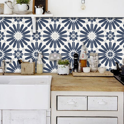 Tile Sticker for Kitchen, Bathroom & Floors in Stellino Ink Blue