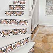 "Stair Riser Stickers - Stair Riser Tile Decals - Syracuse Rose  6 units 48"" long"