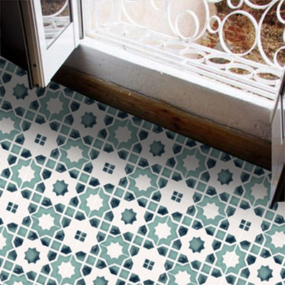 SALE! Vinyl Floor Tile Stickers - Moroccan Taza in Agate