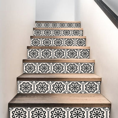 "Stair Riser Stickers - Stair Riser Tile Decals - Testino Black  6 units 48"" long"