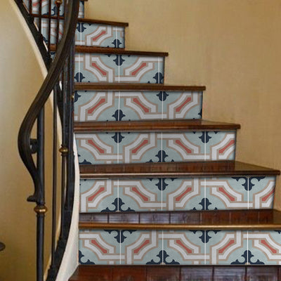 Stair Riser Stickers - Stair Riser Tile Decals - Traliccio Chalk Blue 6pc 48inch
