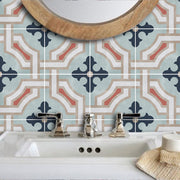 Vinyl Tile Sticker Splashback Traliccio Removable Vinyl Wallpaper in Chalk Blue