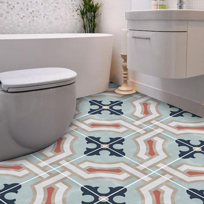Vinyl Floor Tile Sticker - Traliccio Chalk Blue