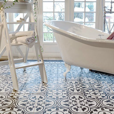 Vinyl Tile Stickers for Kitchen, Bathroom & Floors in Trefle Black