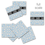 Trefle in Vista Blue Vinyl Tile Sticker
