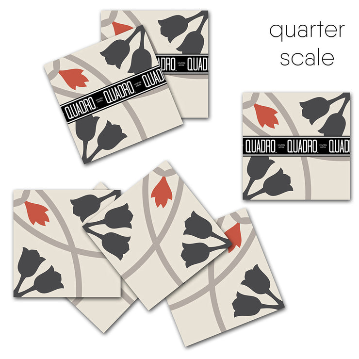 SALE! Tulipano Vinyl Tile Sticker Pack in Black & Red - 24 pcs pack in 20 cm size