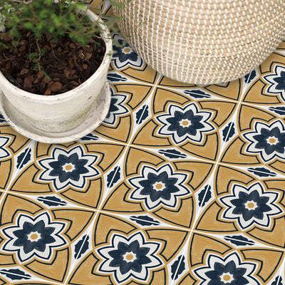 Vinyl Floor Tile Sticker -Sierra in Ochre