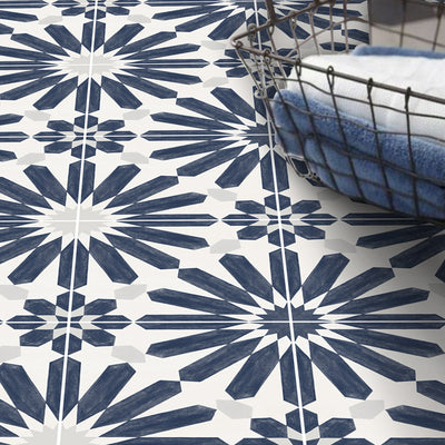 Vinyl Floor Tile Sticker - Stellino in Ink Blue
