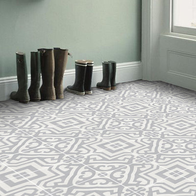 Vinyl Floor Tile Sticker - Alba in Chalk Grey