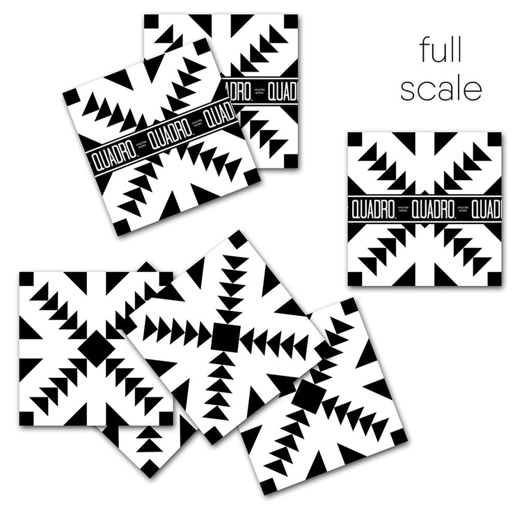Vinyl Floor Tile Sticker - Zig Zag Black