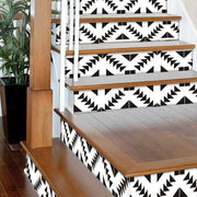 "Stair Riser Stickers - Stair Riser Tile Decals - Zig Zag Black 6 units 48"" long"