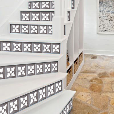 "Stair Riser Stickers - Stair Riser Tile Decals - Bellota Flint 6 unit 48"" long"