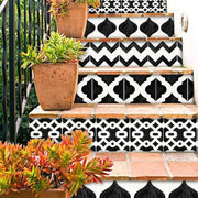 Marrakech Mix Stair Risers in Black and White