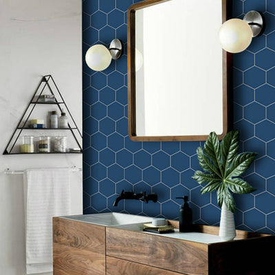 Hexa in Admiral Blue Wallpaper